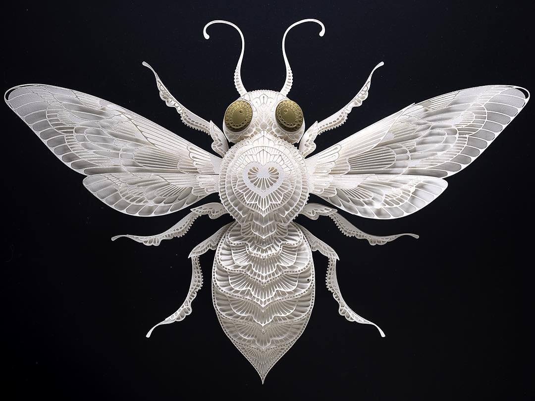 paper sculpture art bee patrick cabral