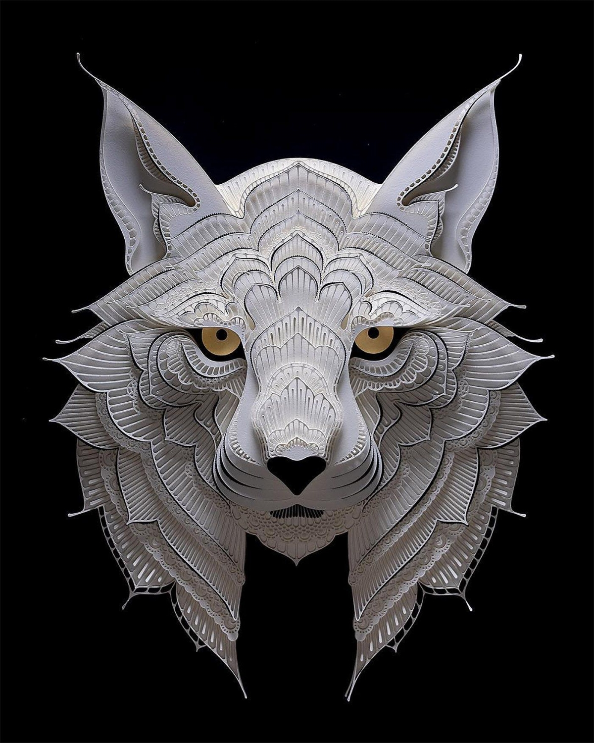 paper sculpture art animal patrick cabral