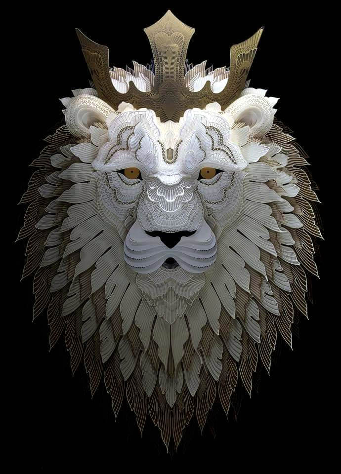 18 paper sculpture art lion patrick cabral
