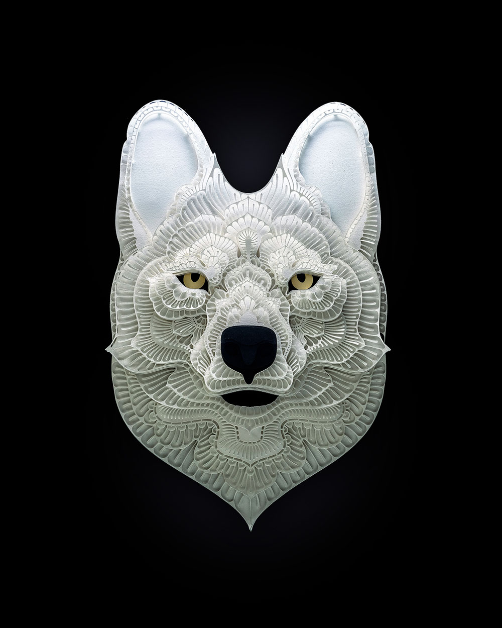 paper sculpture art wolf patrick cabral