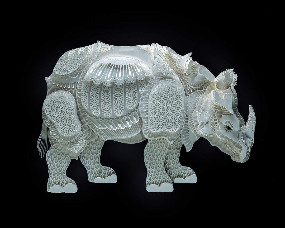paper sculpture art rhino patrick cabral