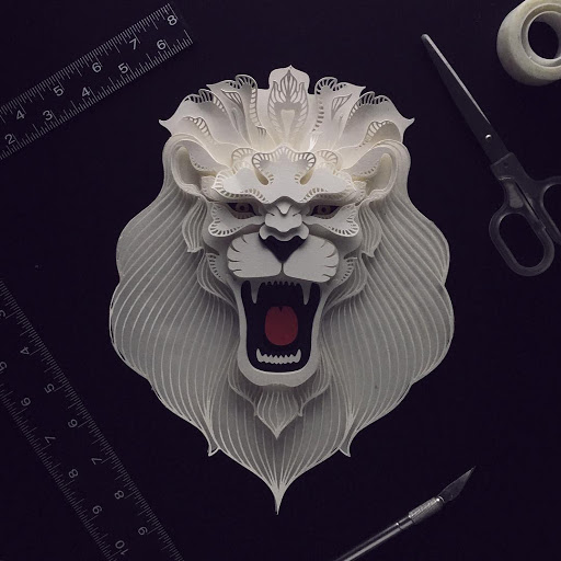 paper sculpture art roar lion patrick cabral