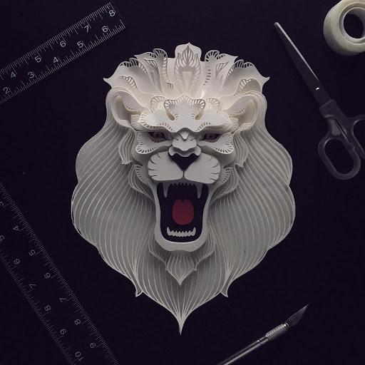 paper sculpture art roar lion patrick cabral
