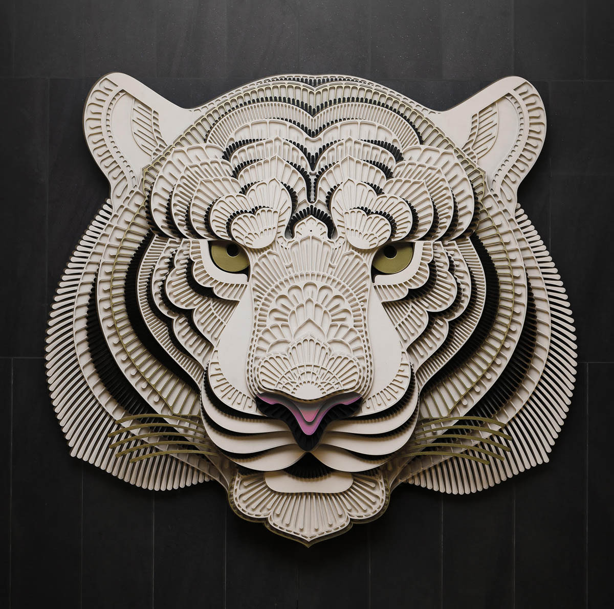 paper sculpture art tiger patrick cabral