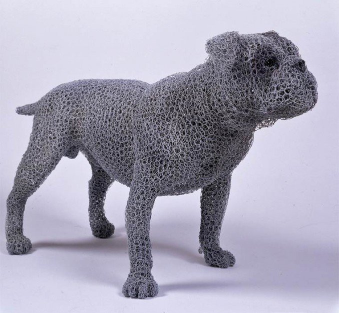 3 wire sculpture bulldog by kendra haste