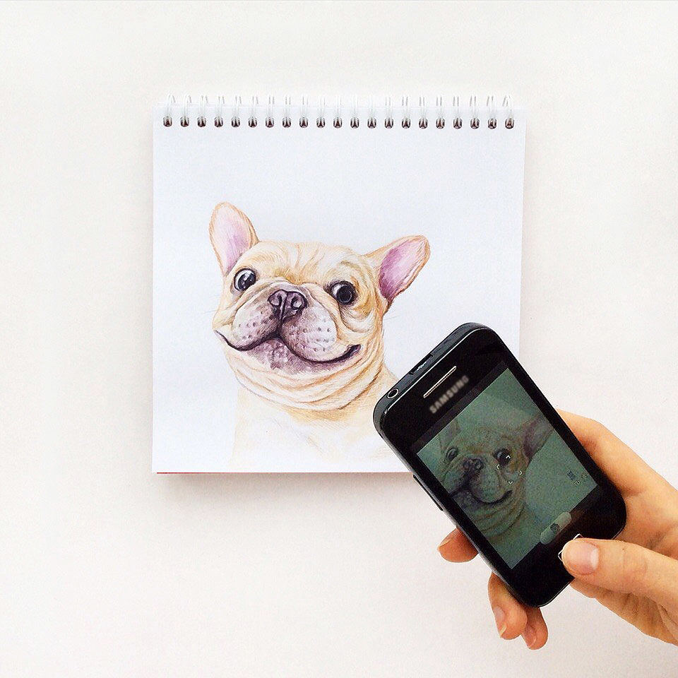 funny color pencil drawing dog by valerie susik