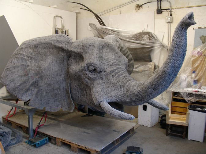 8 wire sculpture elephant bust by kendra haste