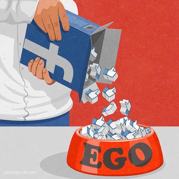meaningful illustration satirical art ego john holcroft