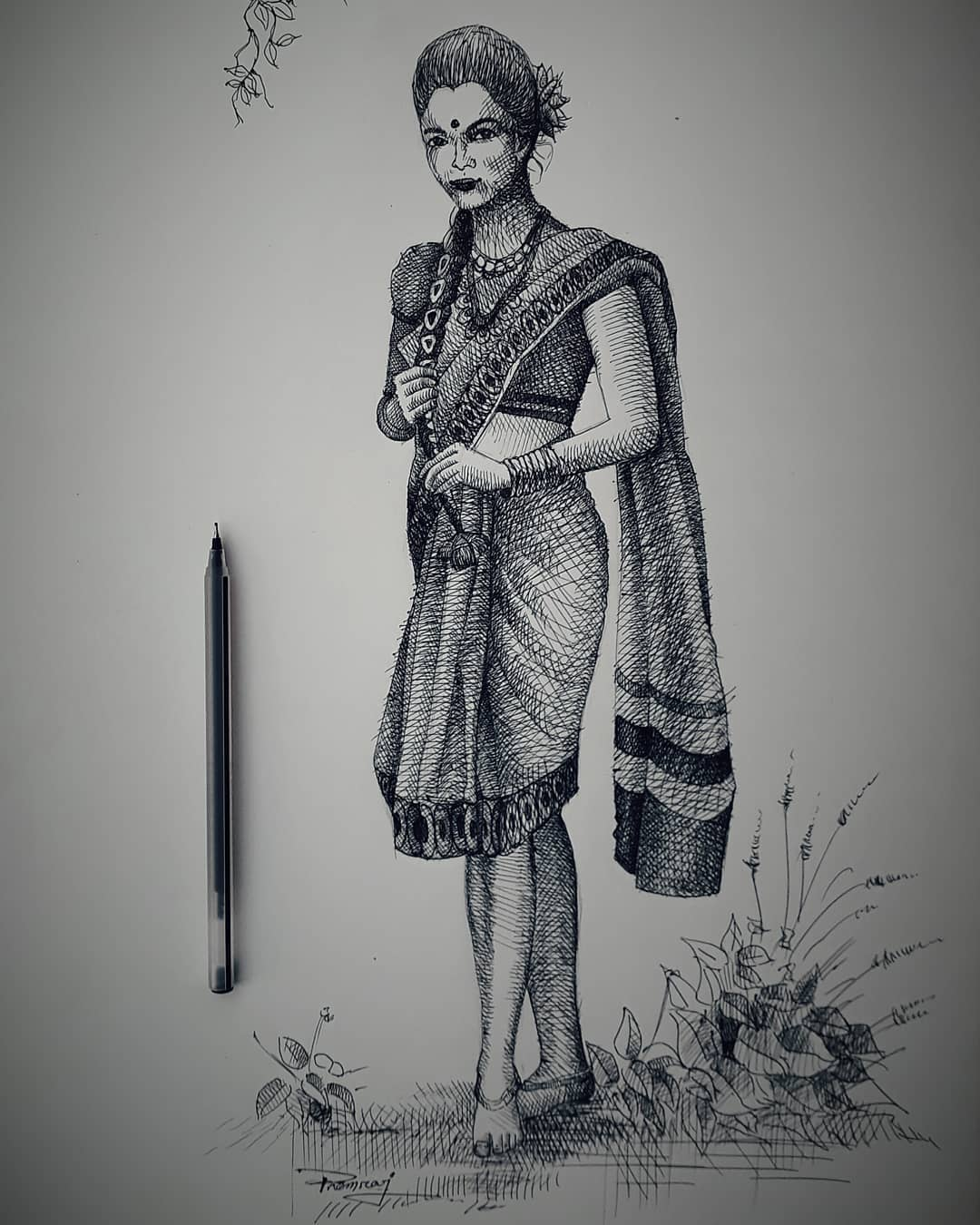 11 creative pen drawing lady premraj meher