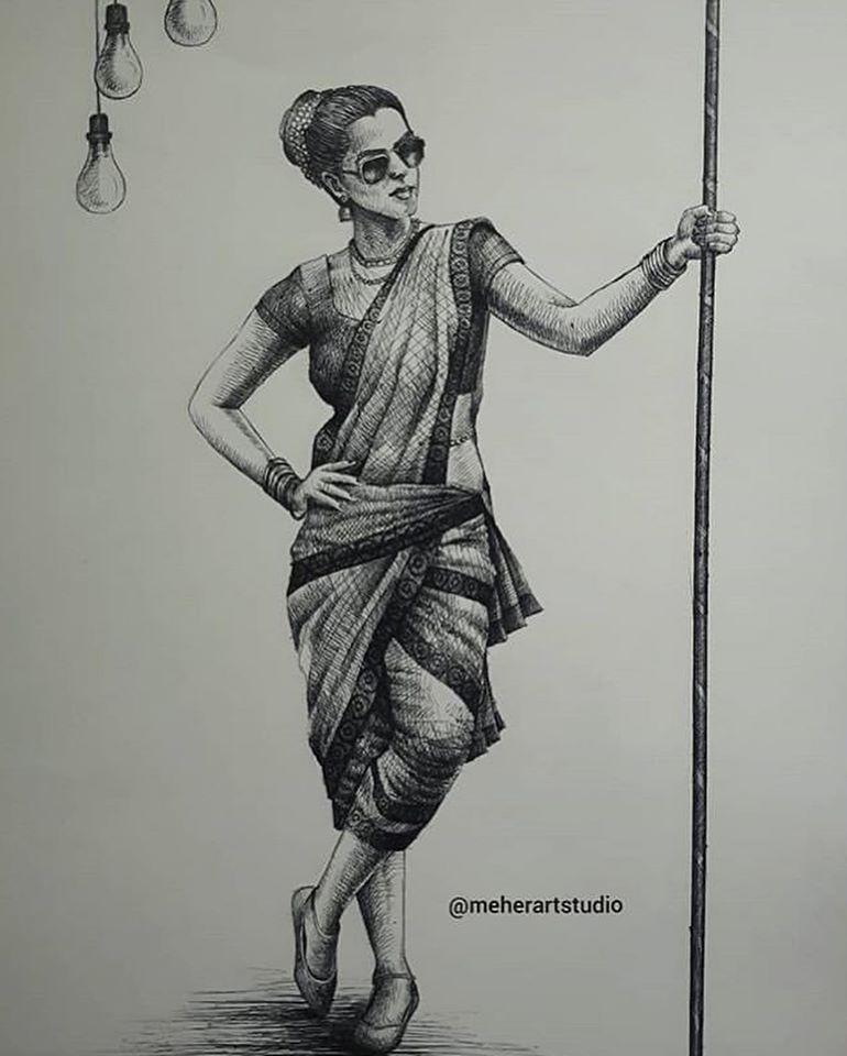 creative pen drawing woman premraj meher