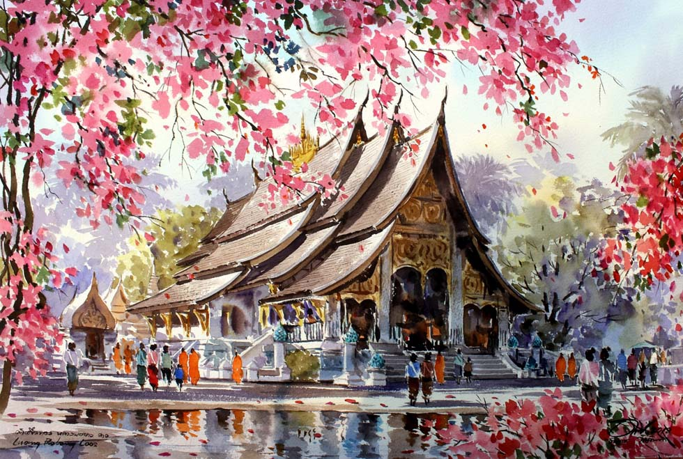 1 watercolor painting thailand temple by thanakorn chaijinda