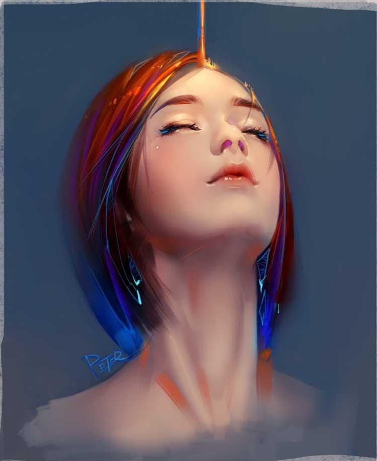 digital painting bliss by xiao ji