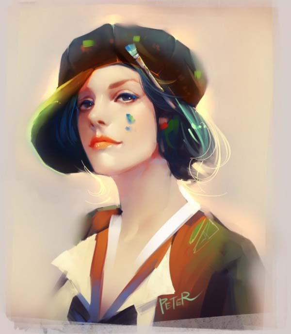 glowing digital painting girl by xiao ji