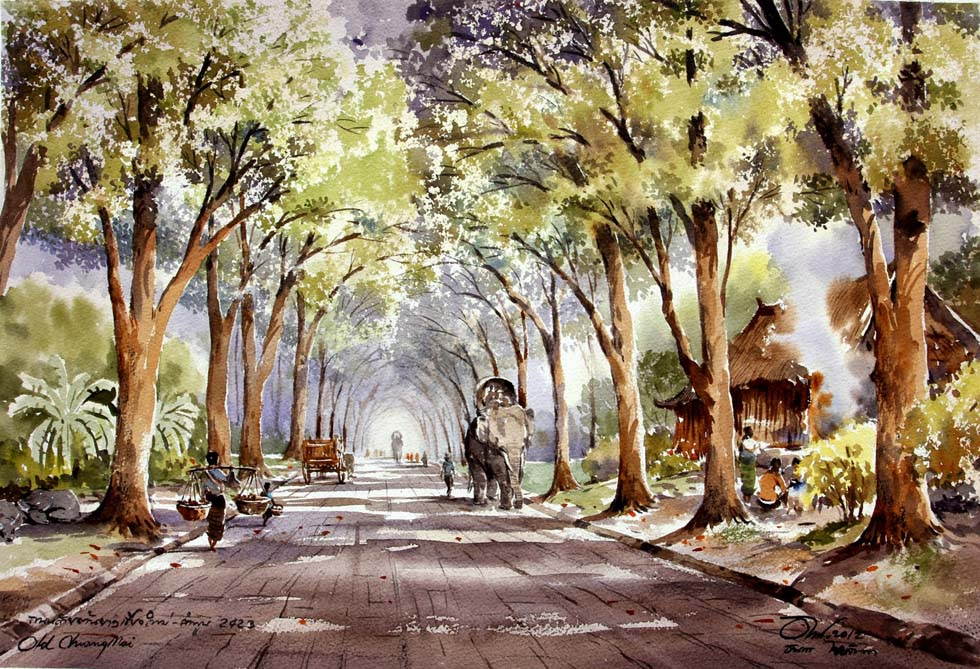 watercolor painting road side by thanakorn chaijinda