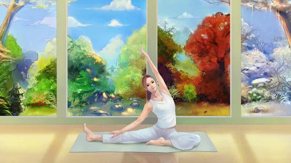 digital painting yoga by xiao ji