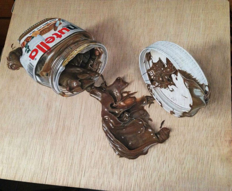 hyper realistic color pencil drawing nutella chocolate by ivan hoo