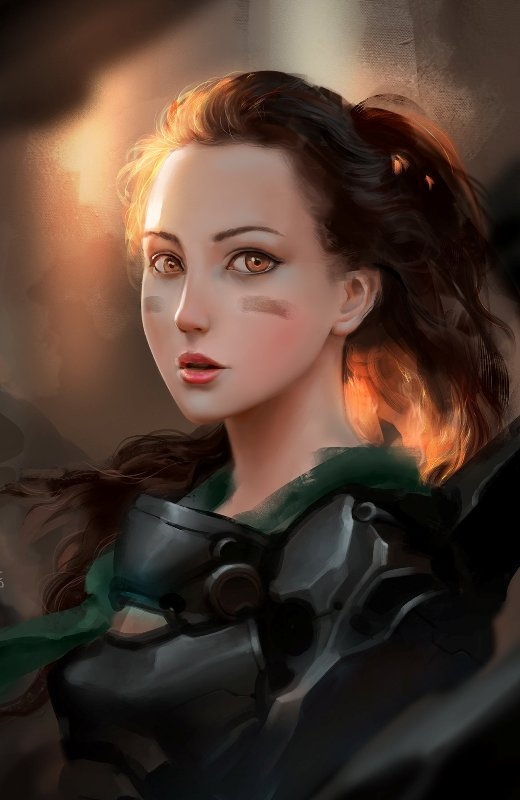 3 digital painting girl by le long