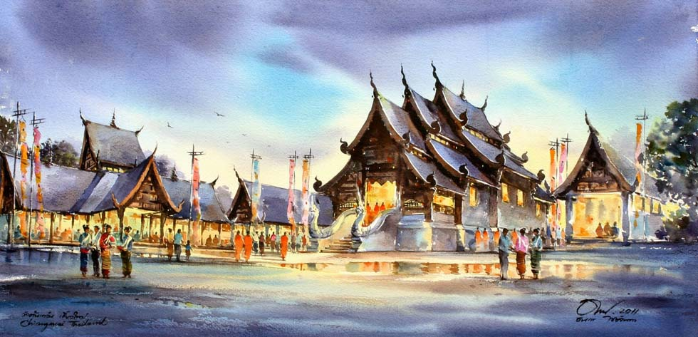 3 watercolor painting temple by thanakorn chaijinda