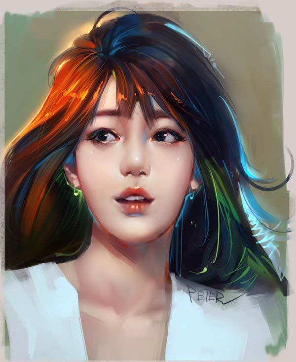 digital painting chinese girl by xiao ji