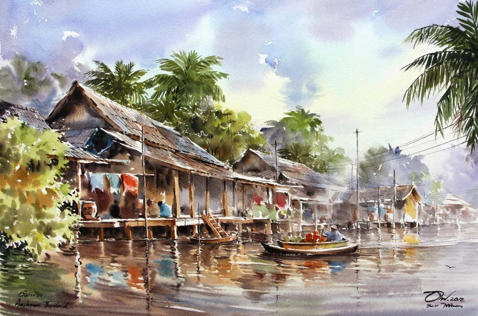 watercolor painting floating house by thanakorn chaijinda