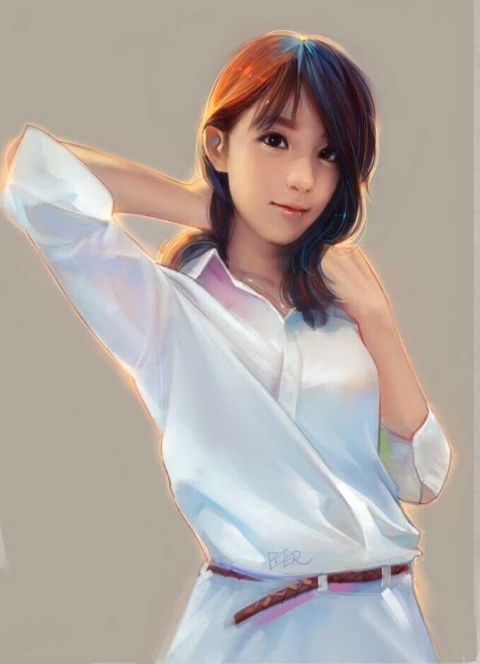 5 glowing digital painting pretty girl by xiao ji
