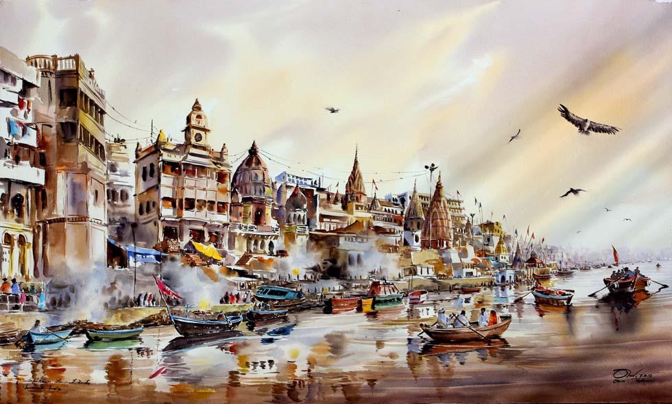 watercolor painting boats by thanakorn chaijinda
