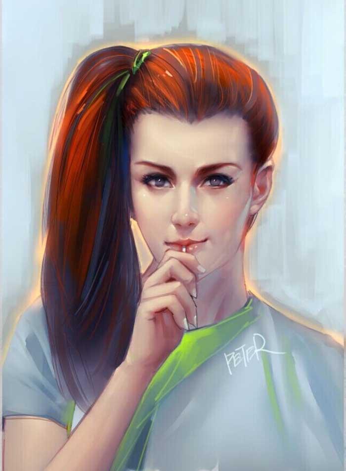portrait digital painting young girl by xiao ji