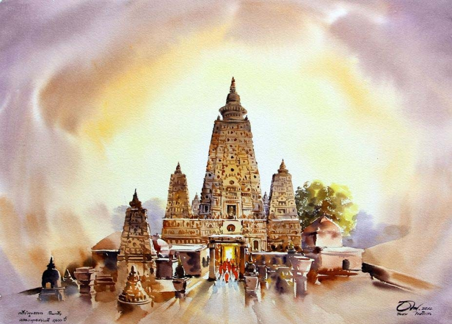 watercolor painting temple by thanakorn chaijinda