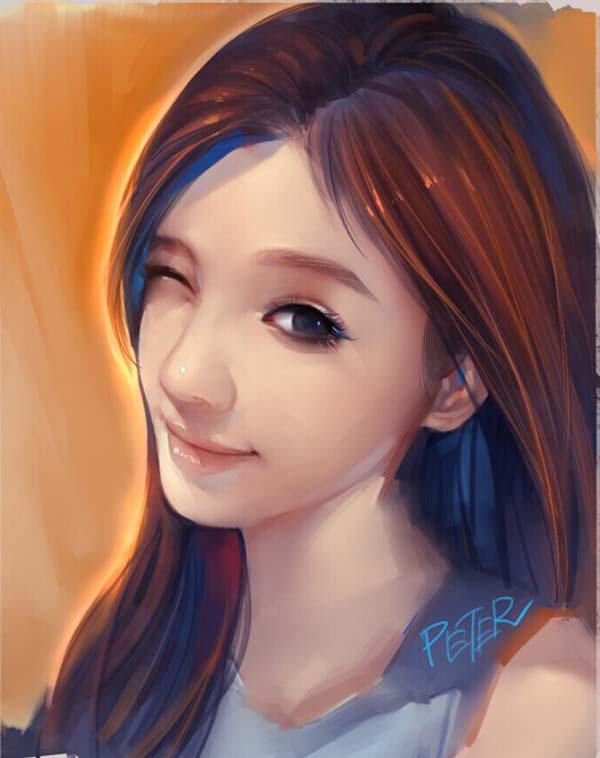 8 digital painting pretty girl by xiao ji