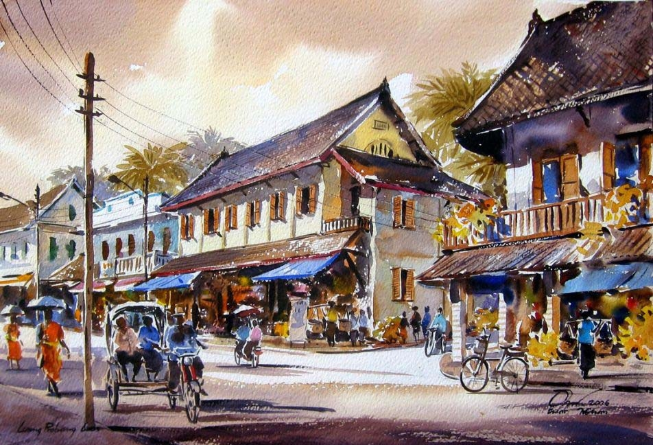 watercolor painting village house by thanakorn chaijinda