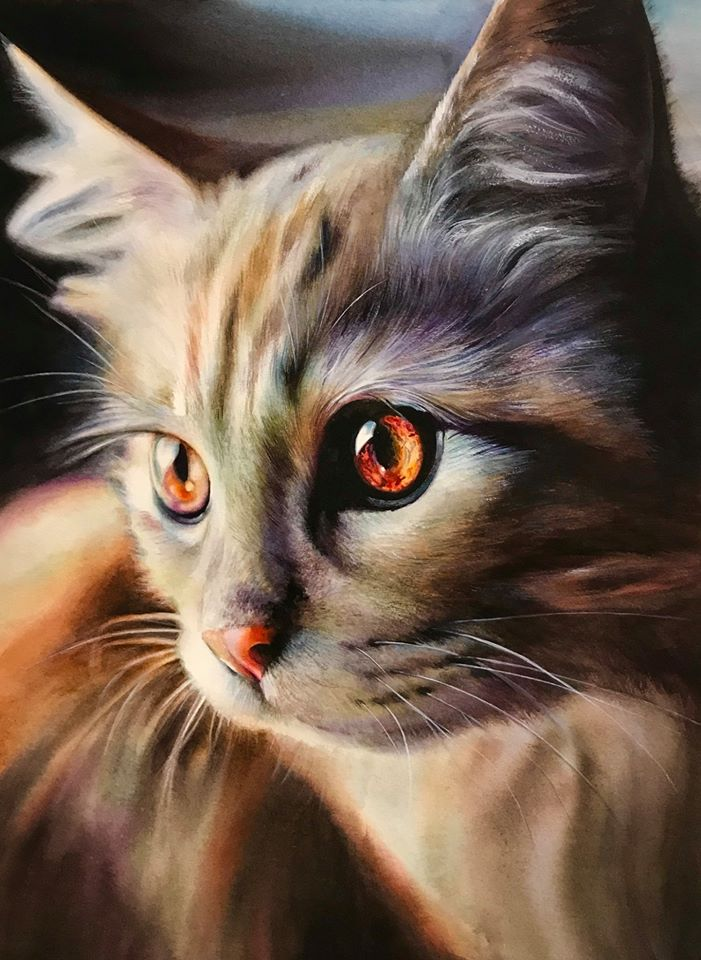 1 hyper realistic watercolor painting cat by elena van gelder