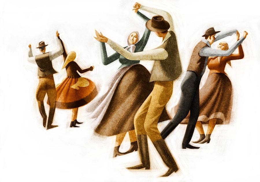 creative artwork illustration dancers by sukanto debnath