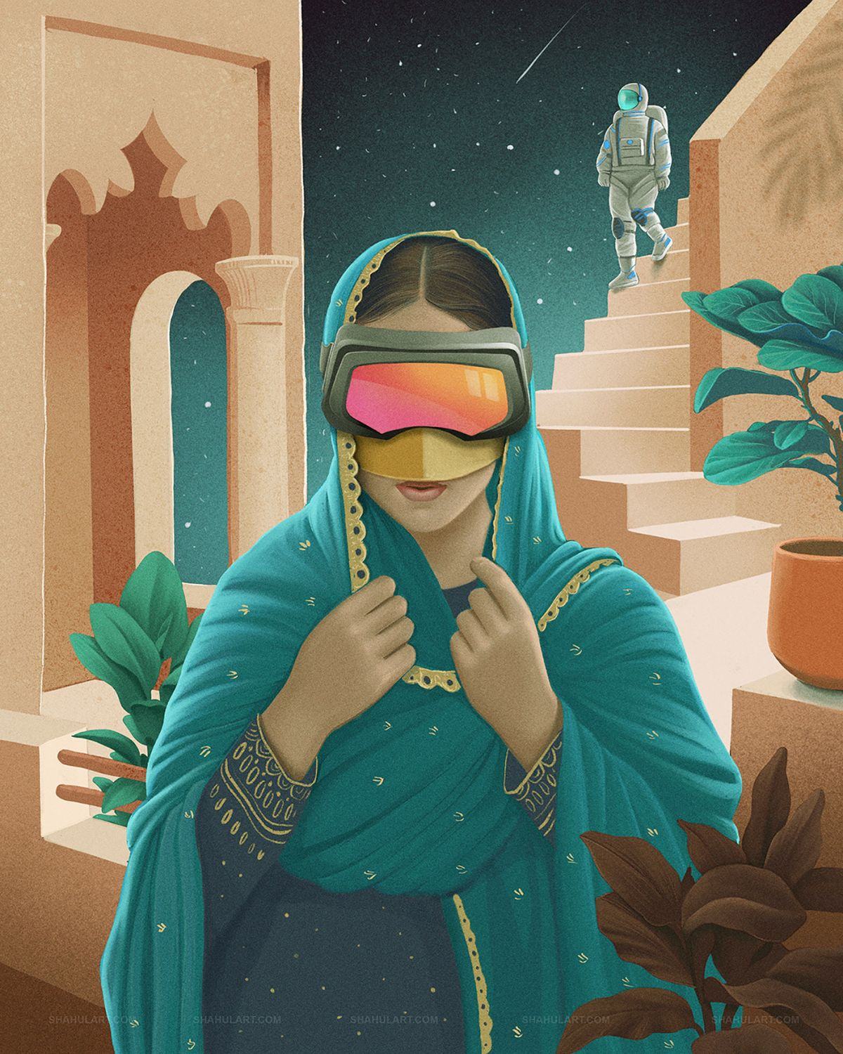 digital illustration uae space shahul hameed