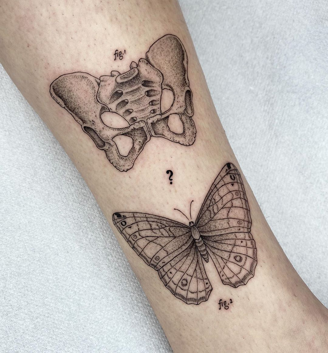 tattoo dot work butterfly bones michele volpi
