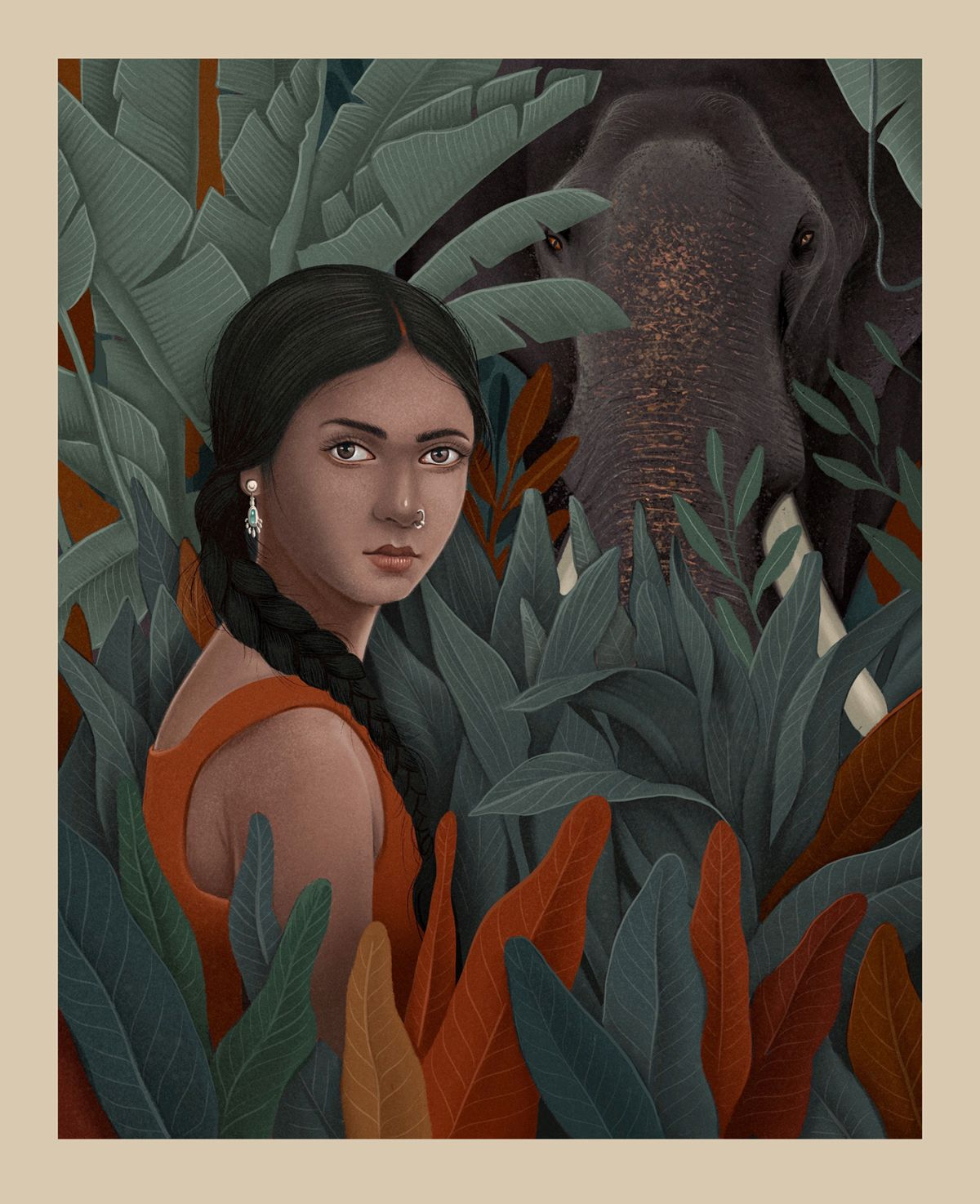 digital illustration elephant girl shahul hameed