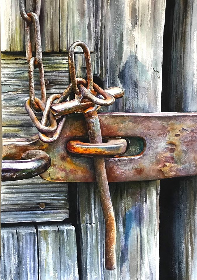 hyper realistic watercolor painting wooden lock by elena van gelder