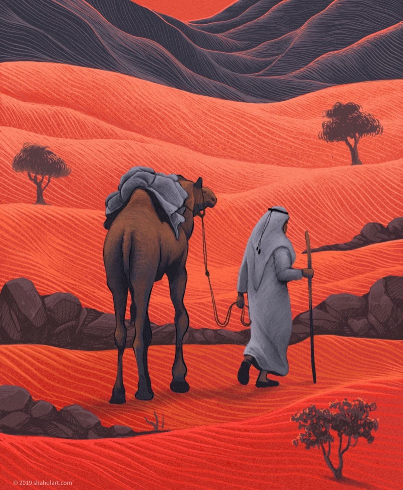 digital illustration desert walk shahul hameed