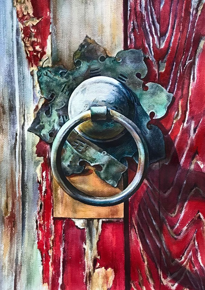 hyper realistic watercolor painting door lock by elena van gelder
