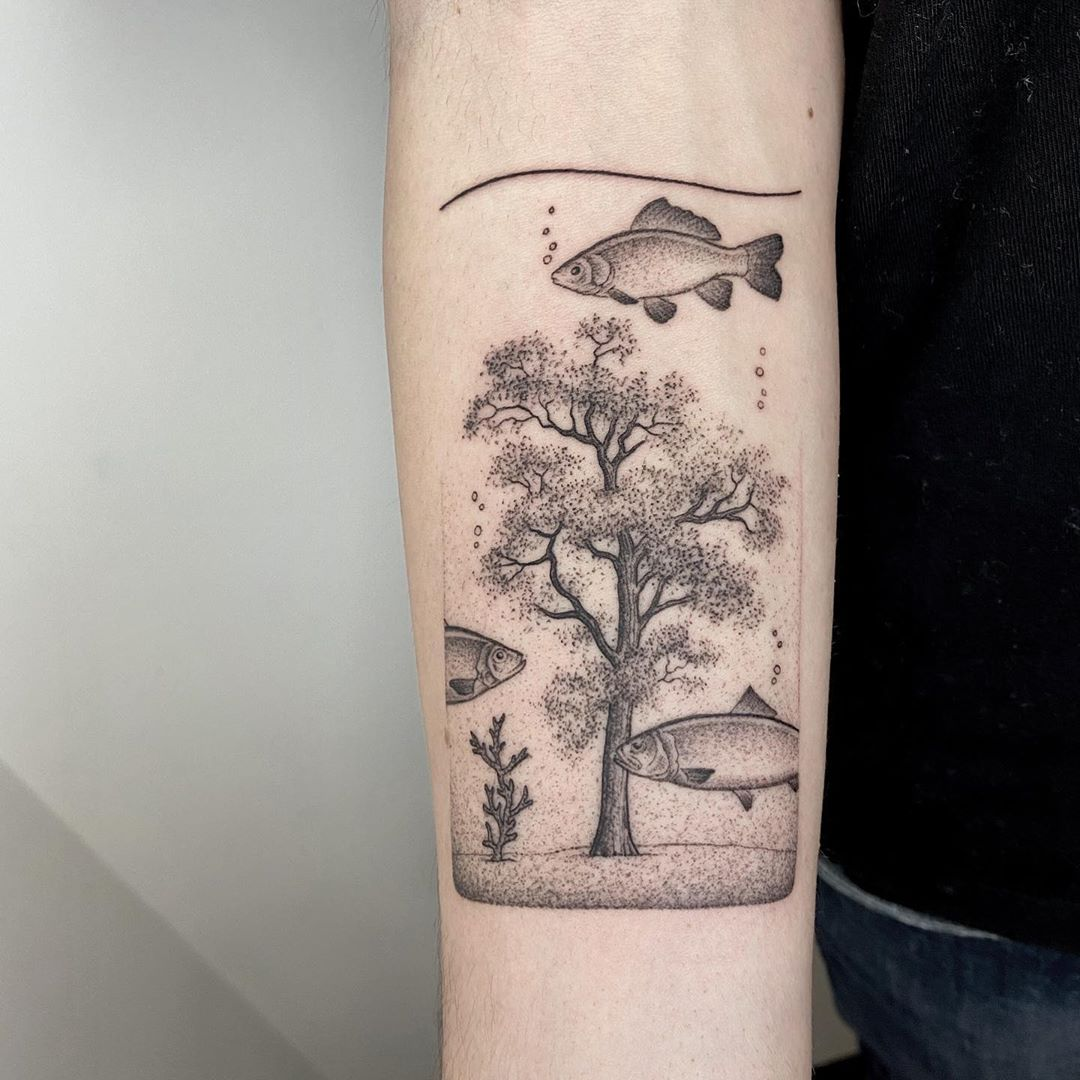 tattoo dot work fishes michele volpi