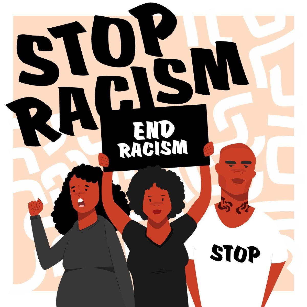 vector illustration digital poster end racism freepik