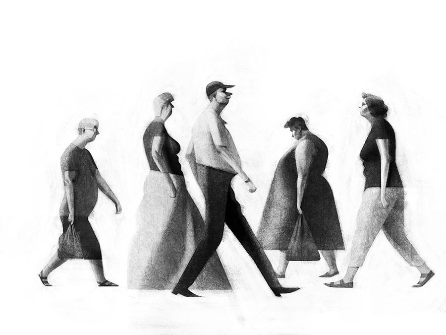 creative artwork illustration people walking by sukanto debnath