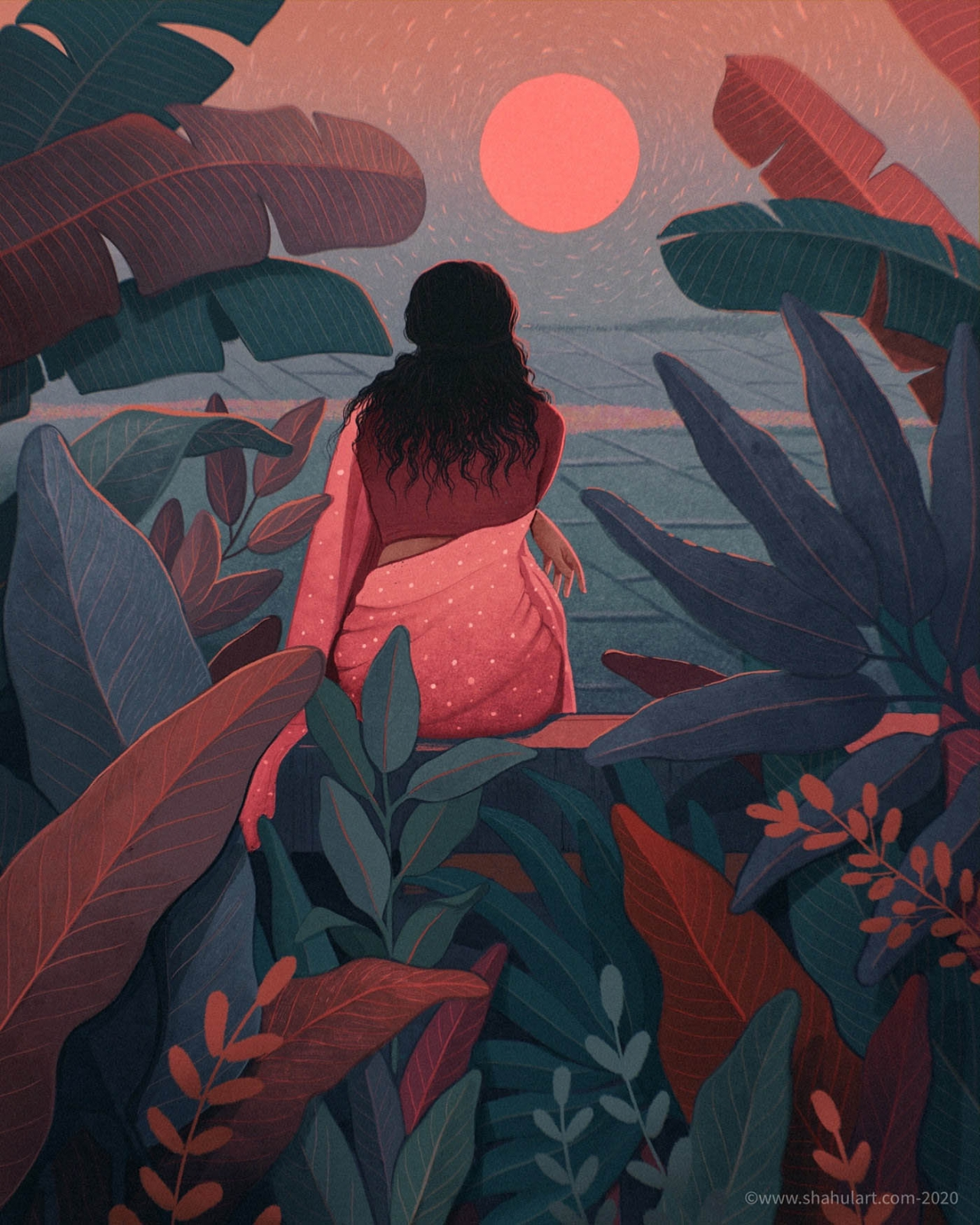 digital illustration sunset shahul hameed