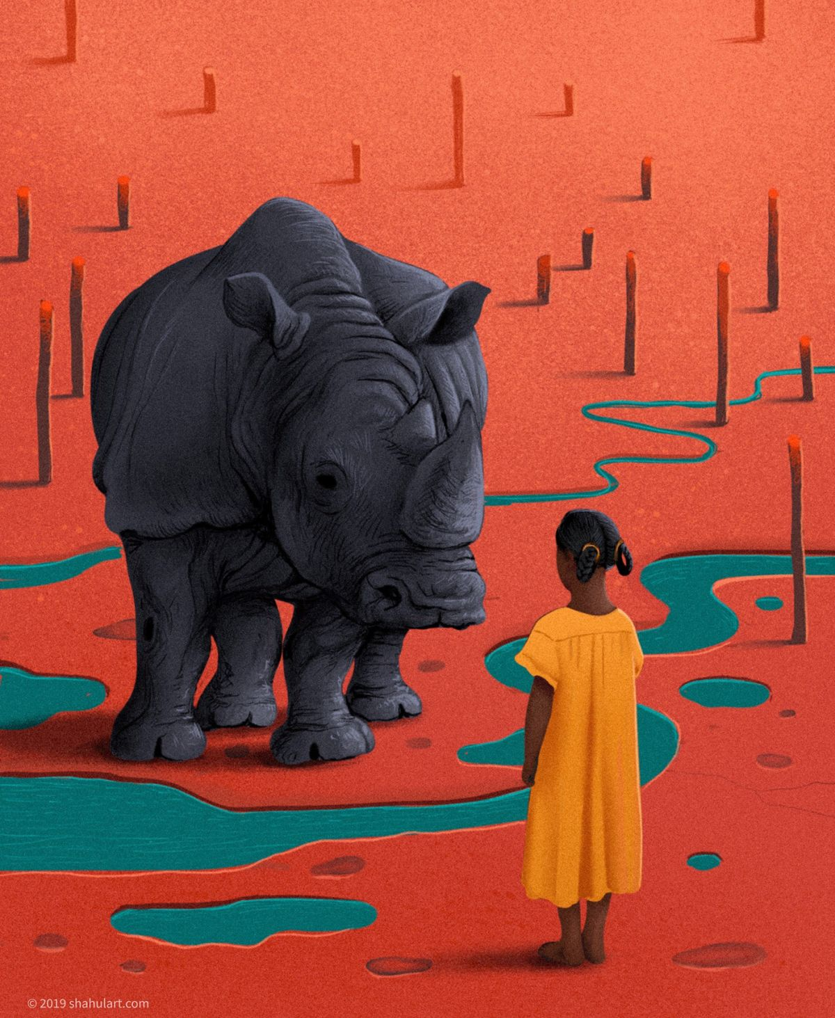digital illustration rhino girl shahul hameed