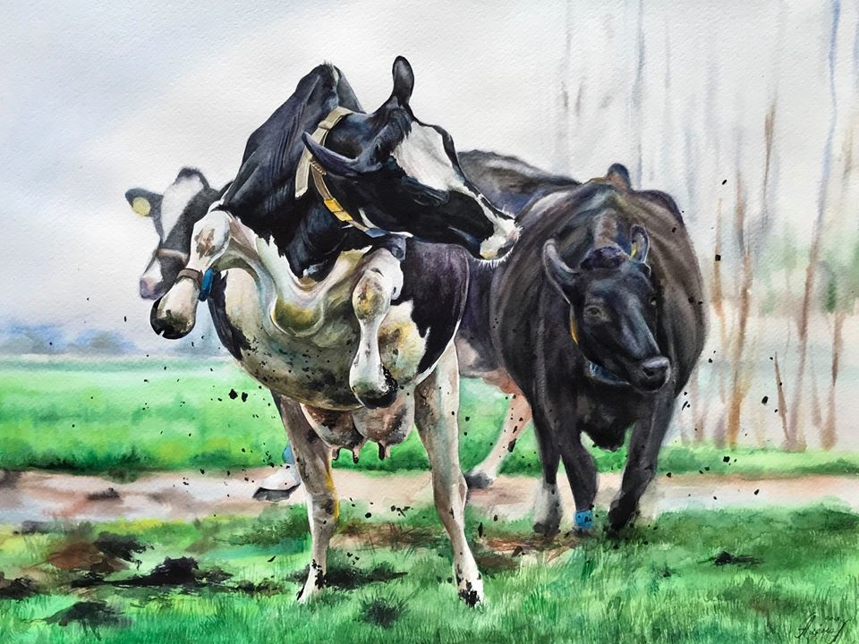 hyper realistic watercolor painting cows by elena van gelder