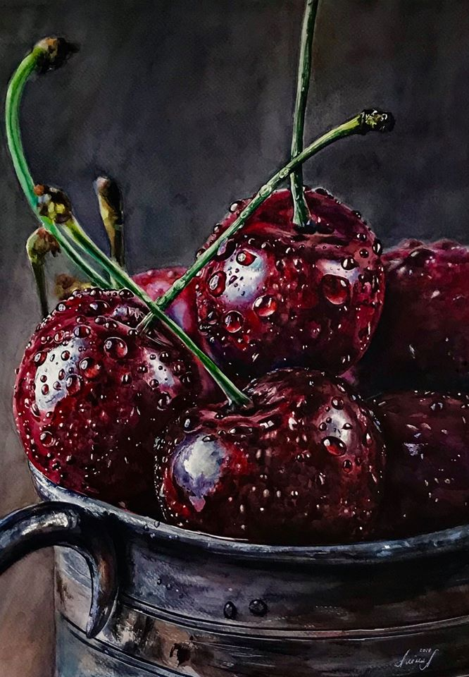 3 hyper realistic watercolor painting cherry by elena van gelder