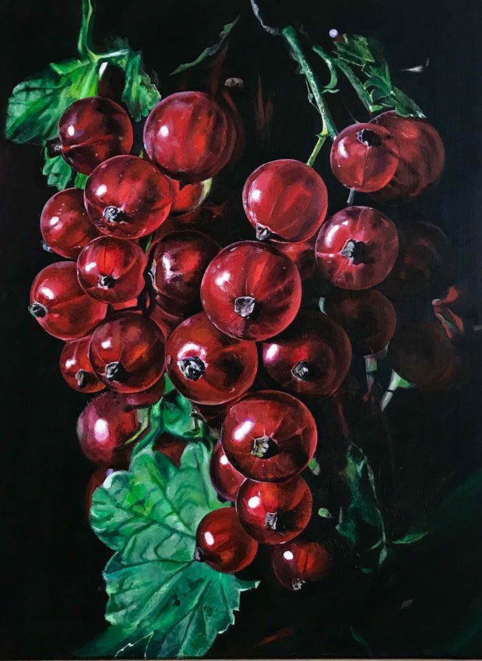hyper realistic watercolor painting grapes by elena van gelder