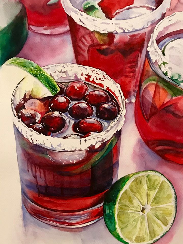 5 hyper realistic watercolor painting juice by elena van gelder