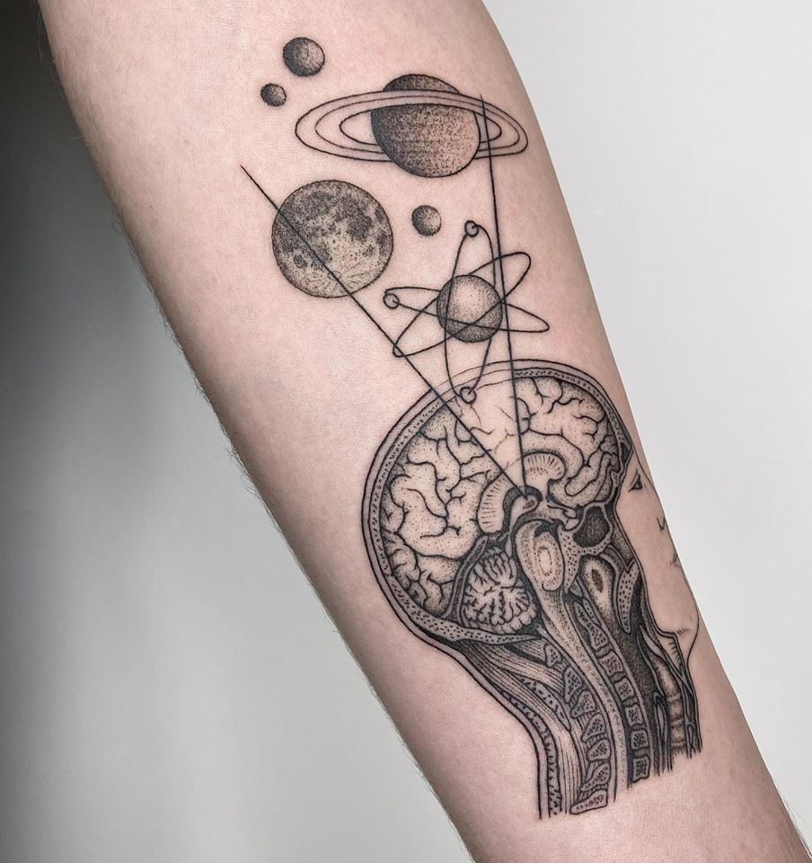 tattoo dot work planet woman brain michele volpi