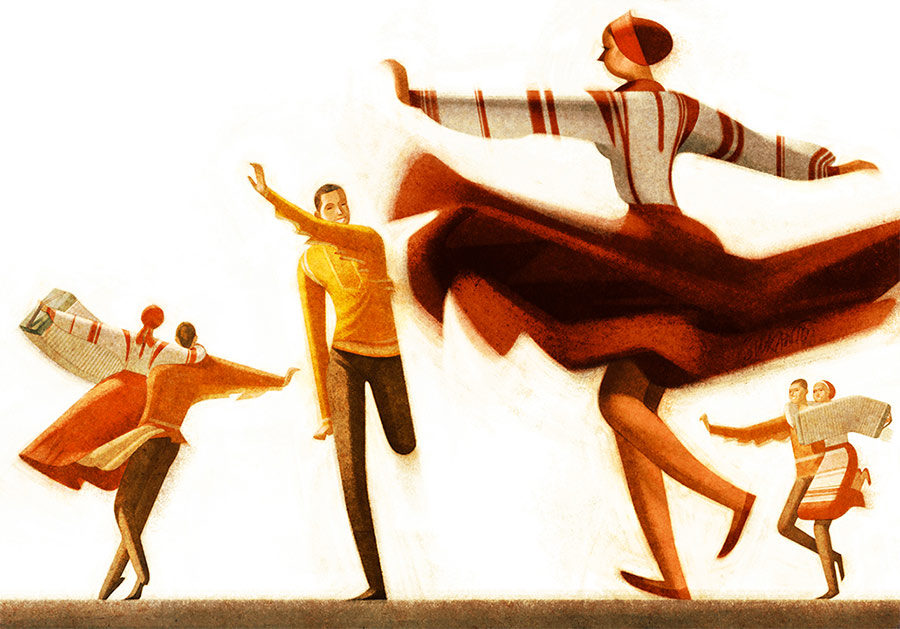 creative artwork illustration folk dancers by sukanto debnath