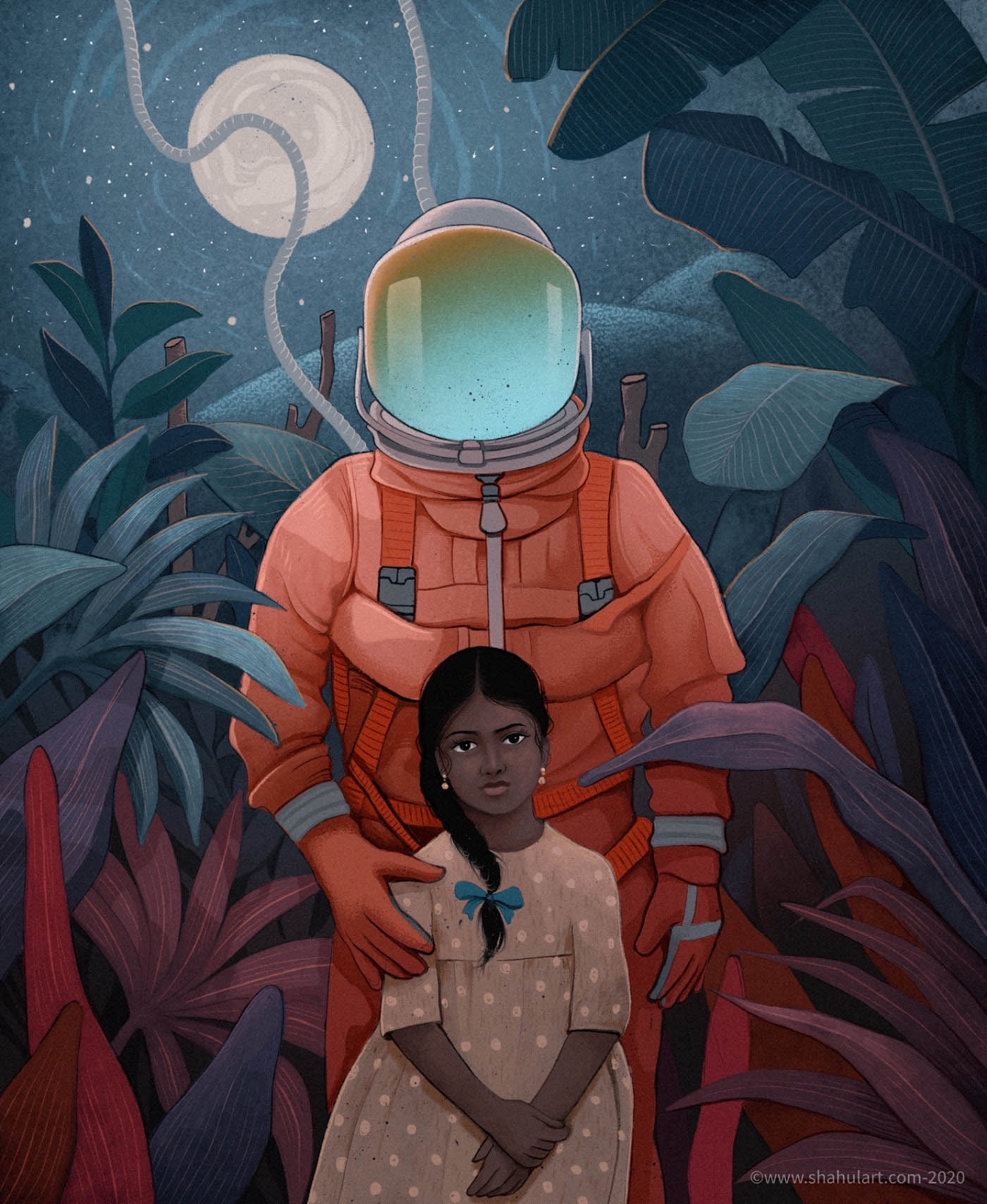digital illustration astronaut daughter shahul hameed